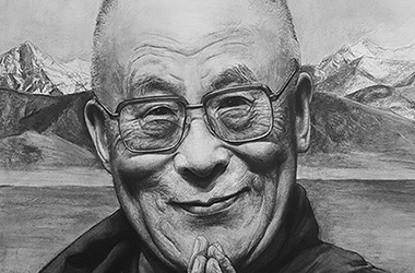 The 14th Dalai Lama  - realistic characoal drawing portrait by Singapore contemporary artist Liu Ling