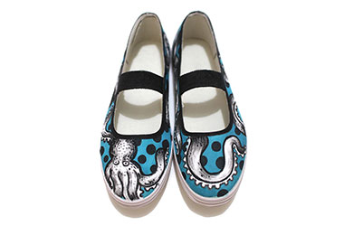 Wermdogg - Octowreck (Shoes) by Singapore female artist Xinlin - Fine Art and Fashionable footwear- South East Asian fashion and culture created by Singapore contemporary realism artists using fabric and fabric paints.