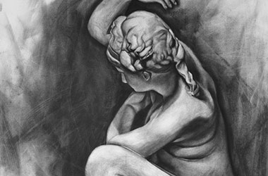 Crouching Aphrodite I - Singapore art class - contemporary art in charcoal
