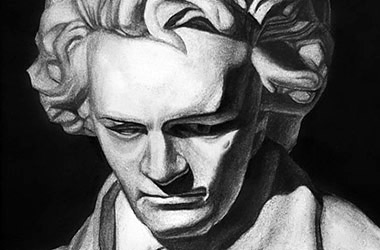 Beethoven - Classical realism charcoal drawing - Singapore art class and art scene