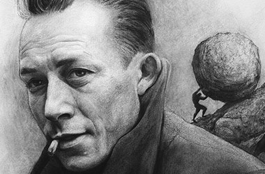 Albert Camus  - realistic characoal drawing portrait by Singapore contemporary artist Liu Ling