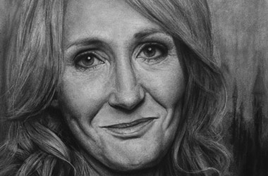 J. K. Rowling  - realistic characoal drawing portrait by Singapore contemporary artist Liu Ling