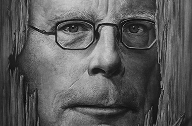 Stephen King  - realistic characoal drawing portrait by Singapore contemporary artist Liu Ling