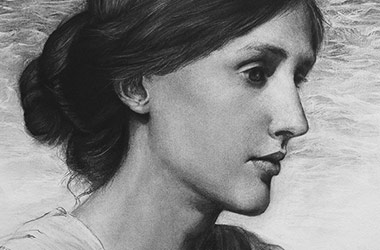 Virginia Woolf  - realistic characoal drawing portrait by Singapore contemporary artist Liu Ling