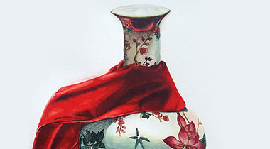 Still Life with Chinese Vase and Red Drapery by Singapore female artist Elsie Lee: realism in Singapore contemporary watercolour paintings / Singapore art studies in contemporary painting style