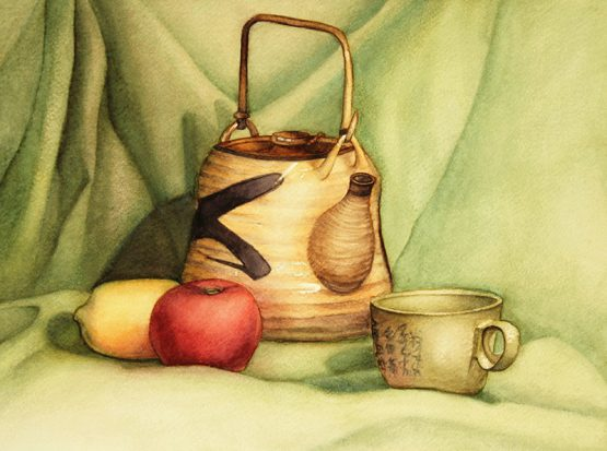 Still Life with Japanese Tea Pot, Cup and Fruits
