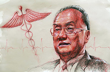 Dr. Chatree  - Pen Drawing Portrait by Singapore contemporary artist Liu Ling