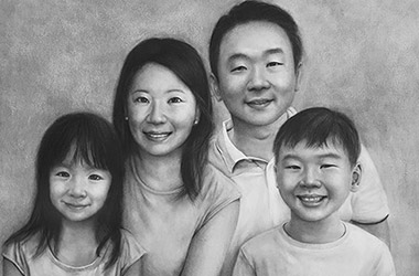 Happy Family - Family Portrait Drawing, family portrait, commissioned drawing, commissioned art
