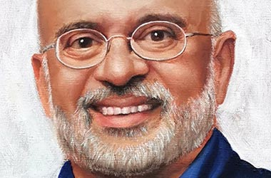 Painting of Mr. Piyush Gupta - realistic Portrait Drawing as a corporate gift. Beautiful commissioned artwork by Singapore contemporary artist