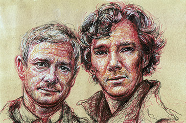 Sherlock Holmes and Dr. Watson  - Pen Drawing Portrait by Singapore contemporary artist Liu Ling