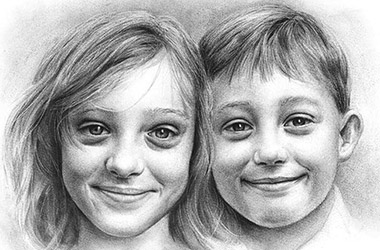 Twins - Child Portrait Drawing, siblings portrait, commissioned drawing, commissioned art