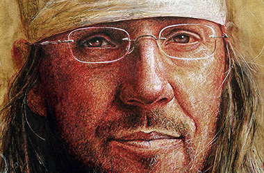 David Foster Wallace  - Pen Drawing Portrait by Singapore contemporary artist Liu Ling