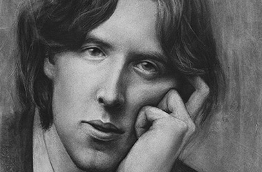 Oscar Wilde  - realistic characoal drawing portrait by Singapore contemporary artist Liu Ling