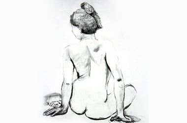 Life Drawing II - Singapore charcoal drawing art class. Beautiful artwork by Singapore contemporary artist