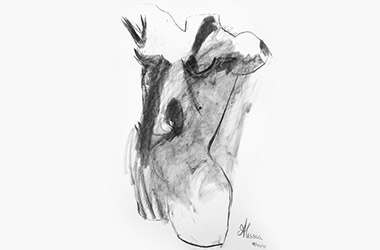 Female Torso with Drapery Blind Drawing  - Singapore charcoal drawing art class. Beautiful artwork by Singapore contemporary artist