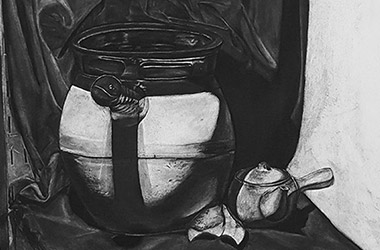 Still Life - classical realism charcoal drawing - Classical realism in Singapore contemporary arts scene. Beautiful artwork by Singapore contemporary artist