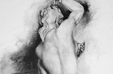 Crouching Aphrodite III - Singapore art class - contemporary art in charcoal
