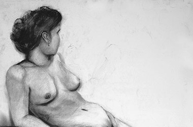 Life Drawing I - Nude Drawing in charcoal - Singapore art class and arts scene. Beautiful artwork by Singapore contemporary artist