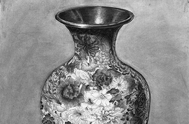 Vase - Enlargement drawing - Singapore art class and art scene. Beautiful artwork by Singapore contemporary artist