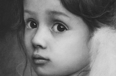 Angel - realistic Portrait Drawing, Singapore art class and arts scene. Beautiful artwork by Singapore contemporary artist