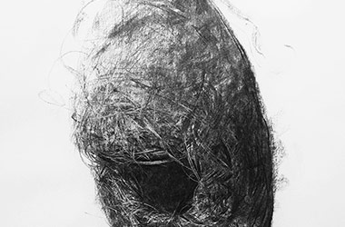 Bird Nest No.7 - Nature drawing, realism in charcoal, Singapore art class and arts scene. Beautiful artwork by Singapore contemporary artist