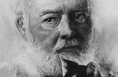 Ernest Hemingway - realistic characoal drawing portrait by Singapore contemporary artist Liu Ling