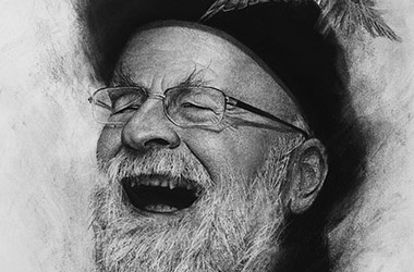 Terry Pratchett: realistic Charcoal drawing by Singapore contemporary artist Liu Ling