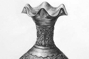 Vase: - Enlargement Drawing, Singapore art class and arts scene. Beautiful artwork by Singapore contemporary artist
