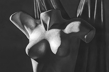 Female Torso with Drapery - Classical realism in Singapore contemporary art scene. Beautiful artwork by Singapore contemporary artist