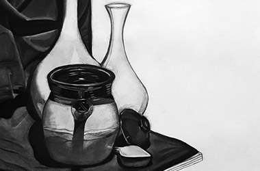 Still Life - classical realism charcoal drawing, Singapore contemporary art scene and art class. Amazing artwork by Singapore contemporary artist