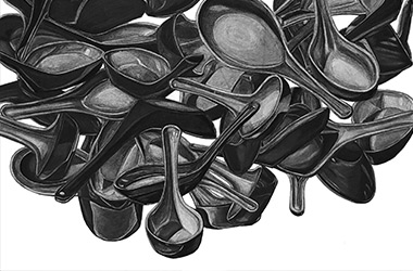 Spoons - Overlapping drawing, Singapore contemporary art scene and art class. Beautiful artwork by Singapore contemporary artist
