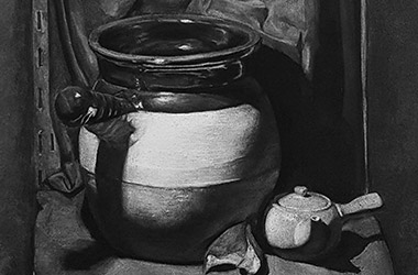 Still Life - classical realism charcoal drawing, Singapore contemporary art scene and art class. Beautiful artwork by Singapore contemporary artist