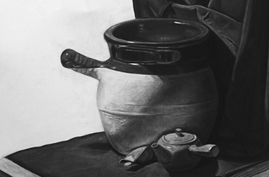 Still Life - classical realism charcoal drawing, Singapore contemporary arts scene and art class. Amazing artwork by Singapore contemporary artist
