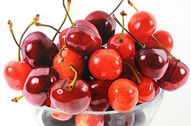 Cherries : Photo-realistic oil painting by Singapore contemporary artist Alessia