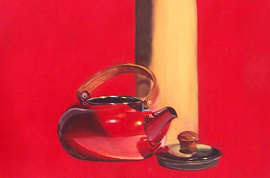 Still Life with Red Kettle: classical realism in Singapore contemporary art scene. Artwork by Singapore contemporary artist