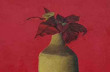 Still Life with Red Kettle, Clay Jar and Poinsettia by art friends - Classical realism in Singapore contemporary art scene. Artwork by Singapore contemporary artist