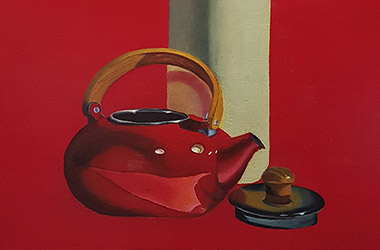Still Life with Red Kettle, Clay Jar and Rose by art friends - Classical realism in Singapore contemporary art scene. Artwork by Singapore contemporary artist