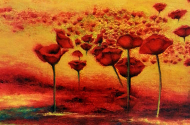 Poppy: semi-abstract oil painting, Singapore contemporary art scene. Artwork by Singapore contemporary artist