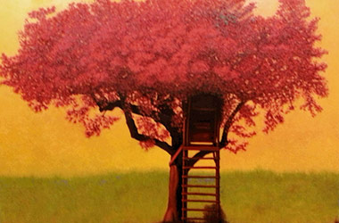 Red Tree: contemporary oil painting, Singapore art scene. Artwork by Singapore contemporary artist