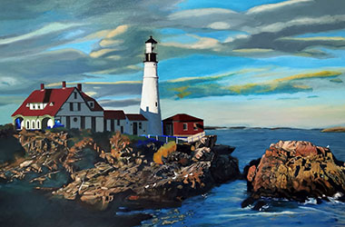 Portland Head Light: contemporary oil painting, Singapore arts scene. Artwork by Singapore contemporary artist