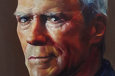Clint Eastwood - oil bar painting - celebrity portrait painting